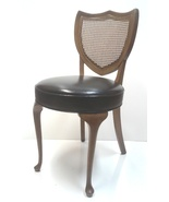 Vintage Queen Anne Cane Mahogany Shield Back Side or Desk Vanity Chair - $649.00