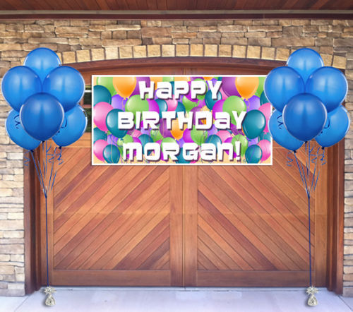 Balloons Birthday Banner Personalized Party Backdrop
