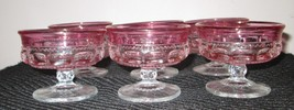 6 RUBY RED STAINED GLASS KINGS CROWN THUMB PRINT SHERBERT GOBLET - $32.74