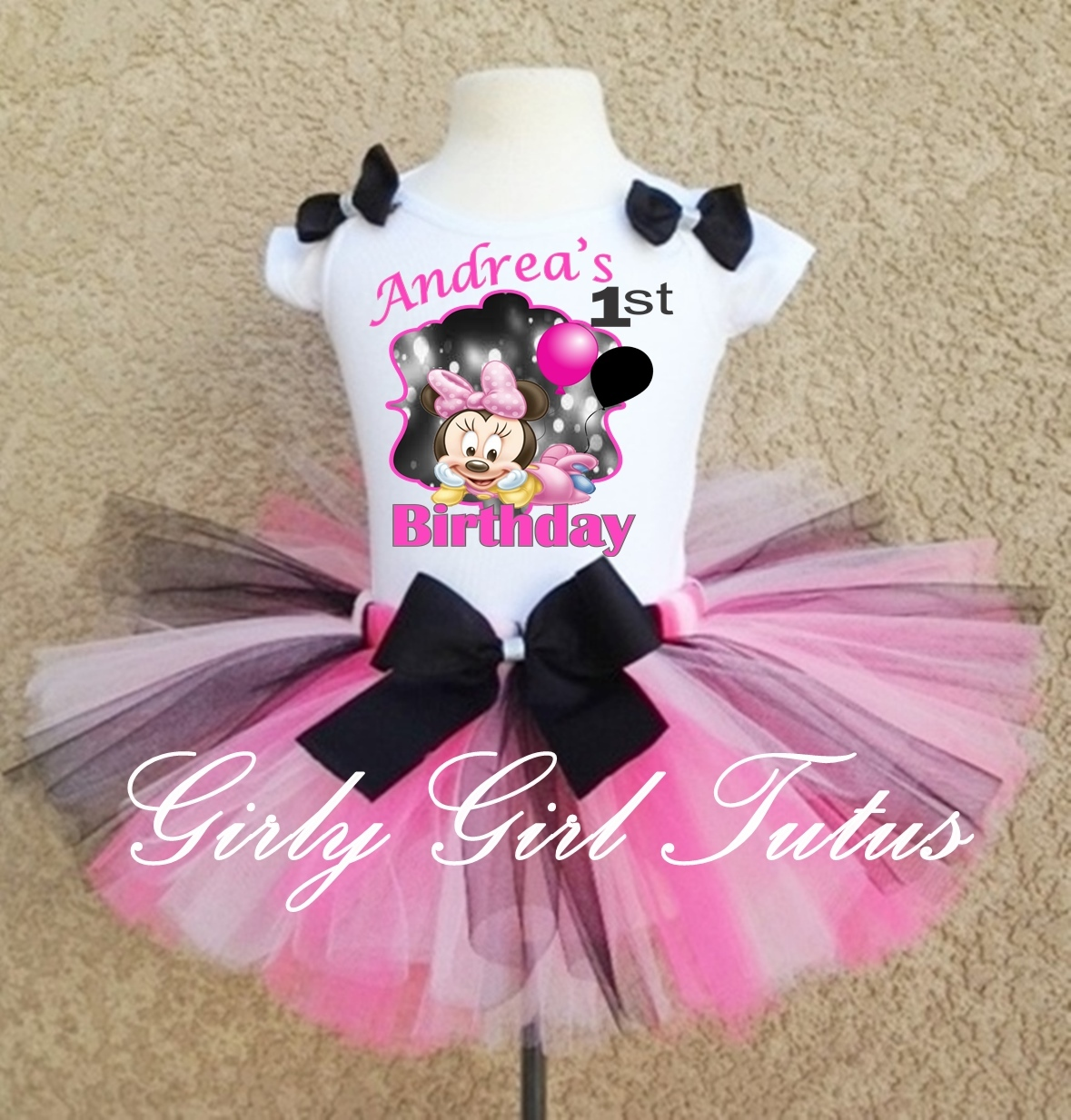 64b59b435d59b Minniemouse1stbirthdayoutfit33. Minniemouse1stbirthdayoutfit33. Girls  Minnie Mouse Black/Pink 1st and 2nd Birthday Party Tutu Outfit Dress Set