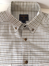 Men's Woolrich Loden Shirt XL Button Front White Olive Green Blue checkers - $29.65