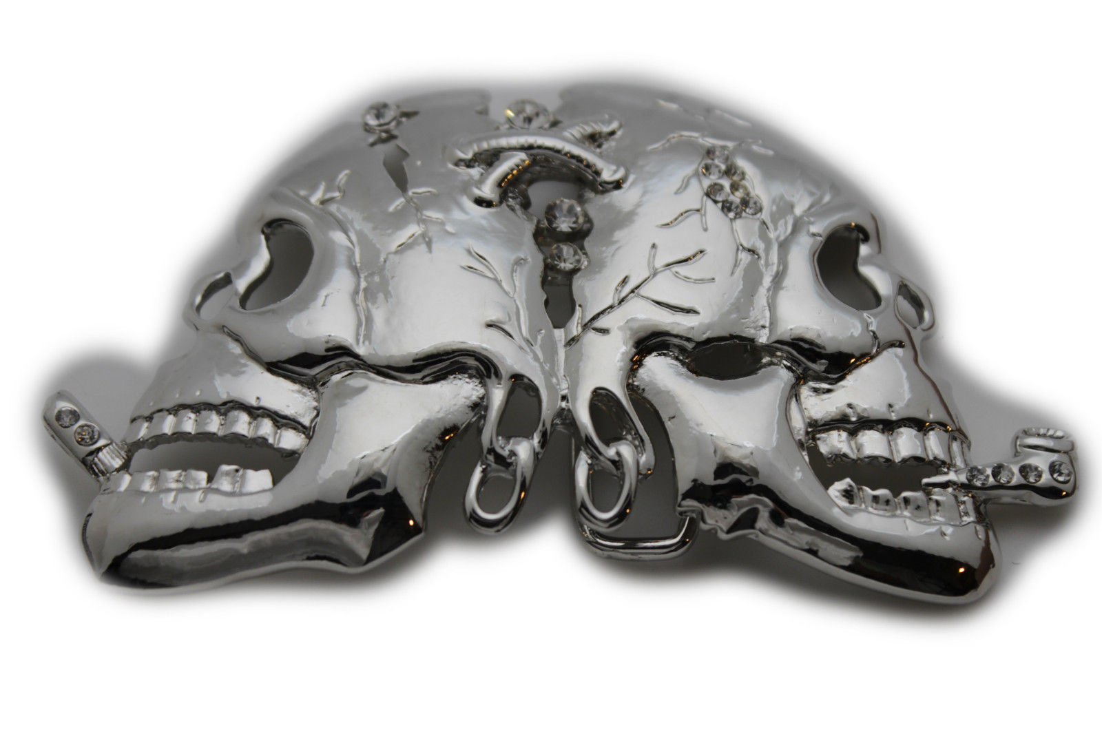 Men Biker Silver Metal Belt Buckle Skull Skeleton Bling Trucker Arrows Gothic