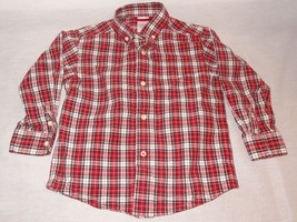 Plaid Red Black White Dress Shirt size 3T Gymboree 2007 Christmas - $7.89