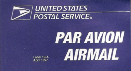 US Airmail Etiquette Label 19-A 1997 - Self Adhesive MINT - $1.66