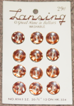 """BUTTONS LANSING 12 BROWN PLASTIC BUTTONS SIZE 20 #8563 1/2"""" VINTAGE MADE... - $3.00"""