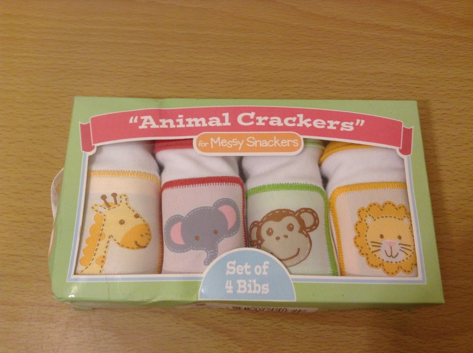 Baby Aspen Animal Crackers Set of 4 Bibs Giraffe Elephant Money Lion New