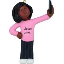 Selfie Ornament Girl taking Selfie Personalized Ornament- African American  - $12.80