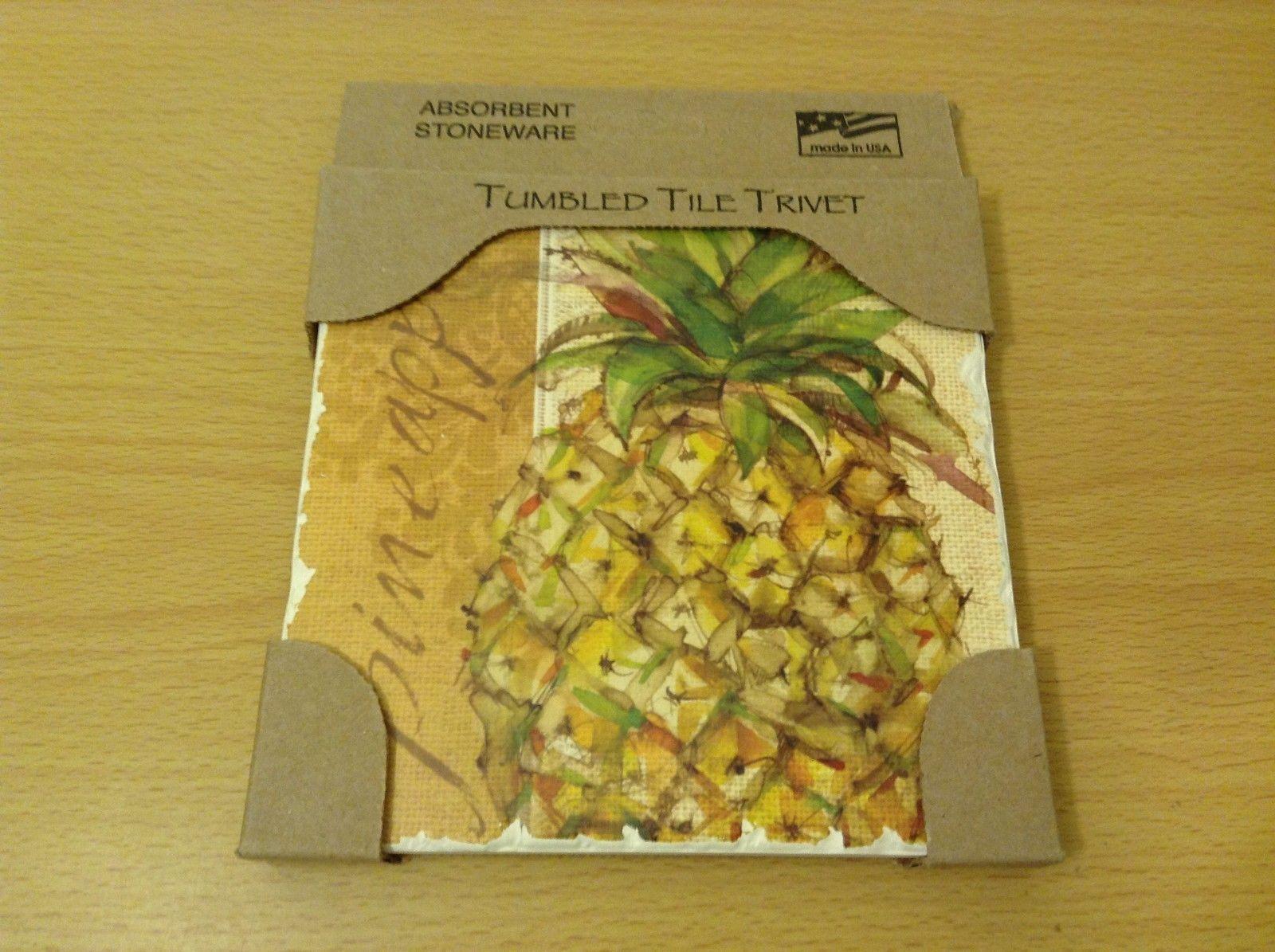 Tumbled Tile Trivet Large Coasters Absorbent Stoneware Natural Cork Back