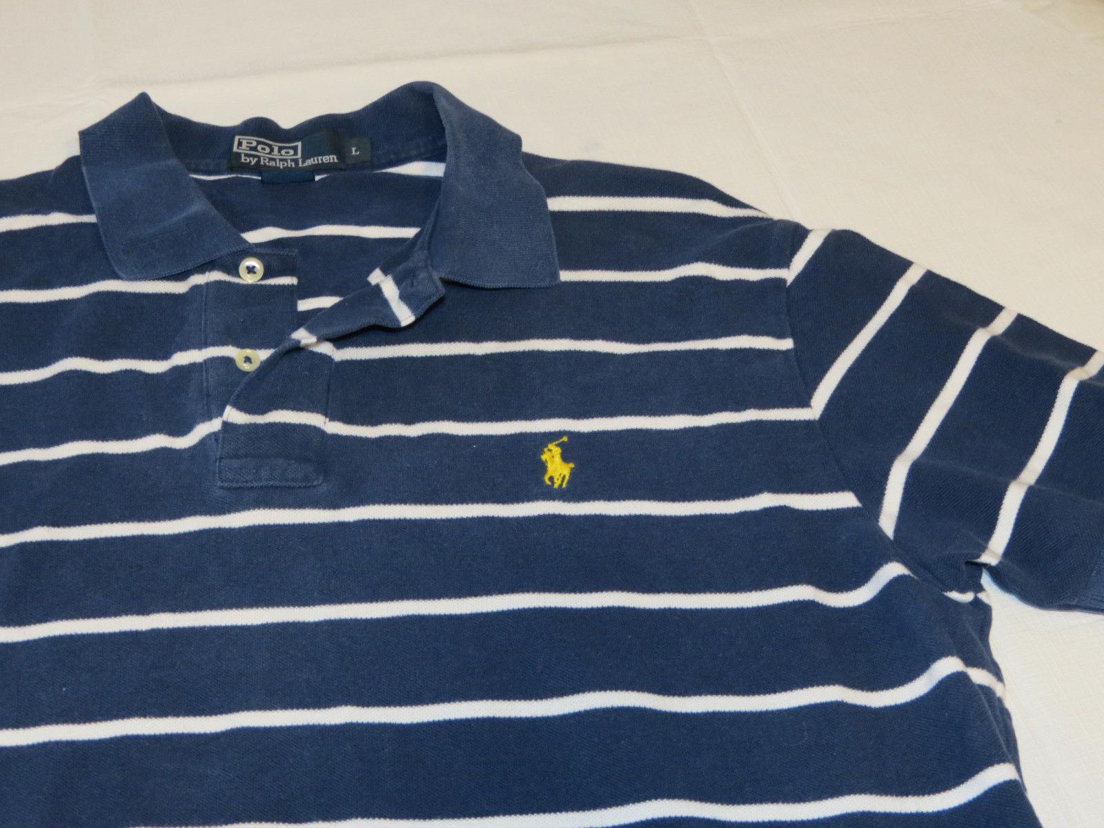 Polo by Ralph Lauren Men's short sleeve polo shirt navy blue L cotton EUC@