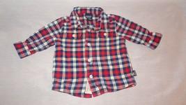 Plaid Red Blue White Flannel Long Sleeve Shirt size 6-9 Months Oshkosh - $7.99