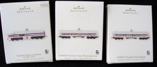 2007 Hallmark Lionel Freedom Train Locomotive Sleeper Observation Car Ornaments
