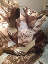 Bandolino ALAYNAU4 Brown & Gold Multi Color Leather Pointed Toe Pumps Sz 6.5M - $24.74
