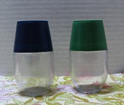 Vintage Large Plastic Salt & Pepper Shakers // Blue & Green Lids // Spice Jars - $6.00