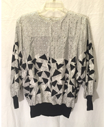 Vintage 1980s REO Originals black and white shiny blouse triangles size 10 - $7.00