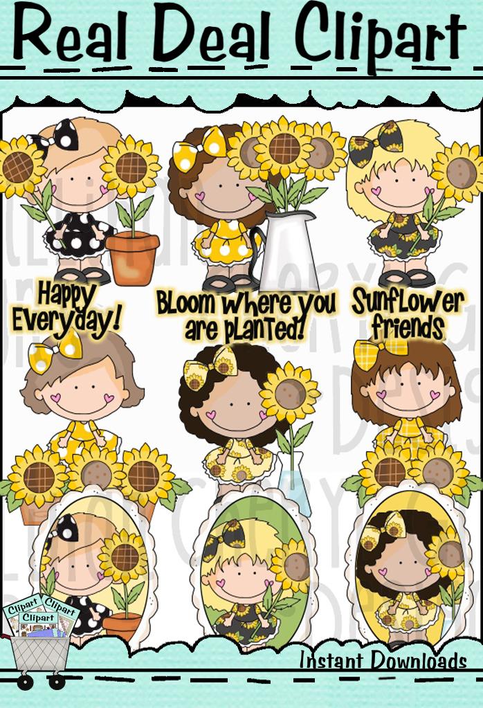 Dumplin Girls Sunflower Friends Clip Art