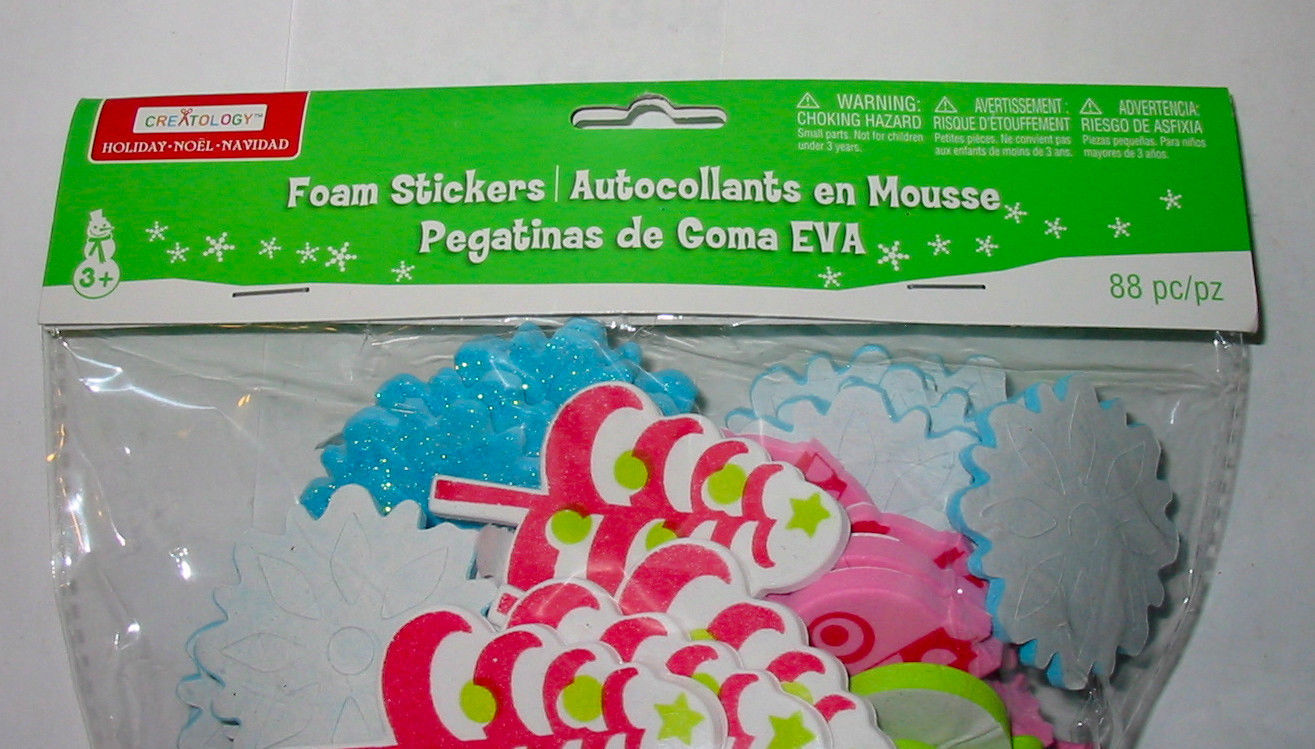 Christmas Michaels Creatology Foam Stickers 88pc Trees Snowflakes Ornaments 5J