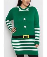 NEW WOMENS PLUS SIZE 3X CHRISTMAS GREEN LONG ELF TUNIC SWEATER W MATCHING HAT - $29.02