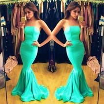 Sexy Mint Green Satin Mermaid Evening Dresses Formal Party Prom Bridal G... - $159.00