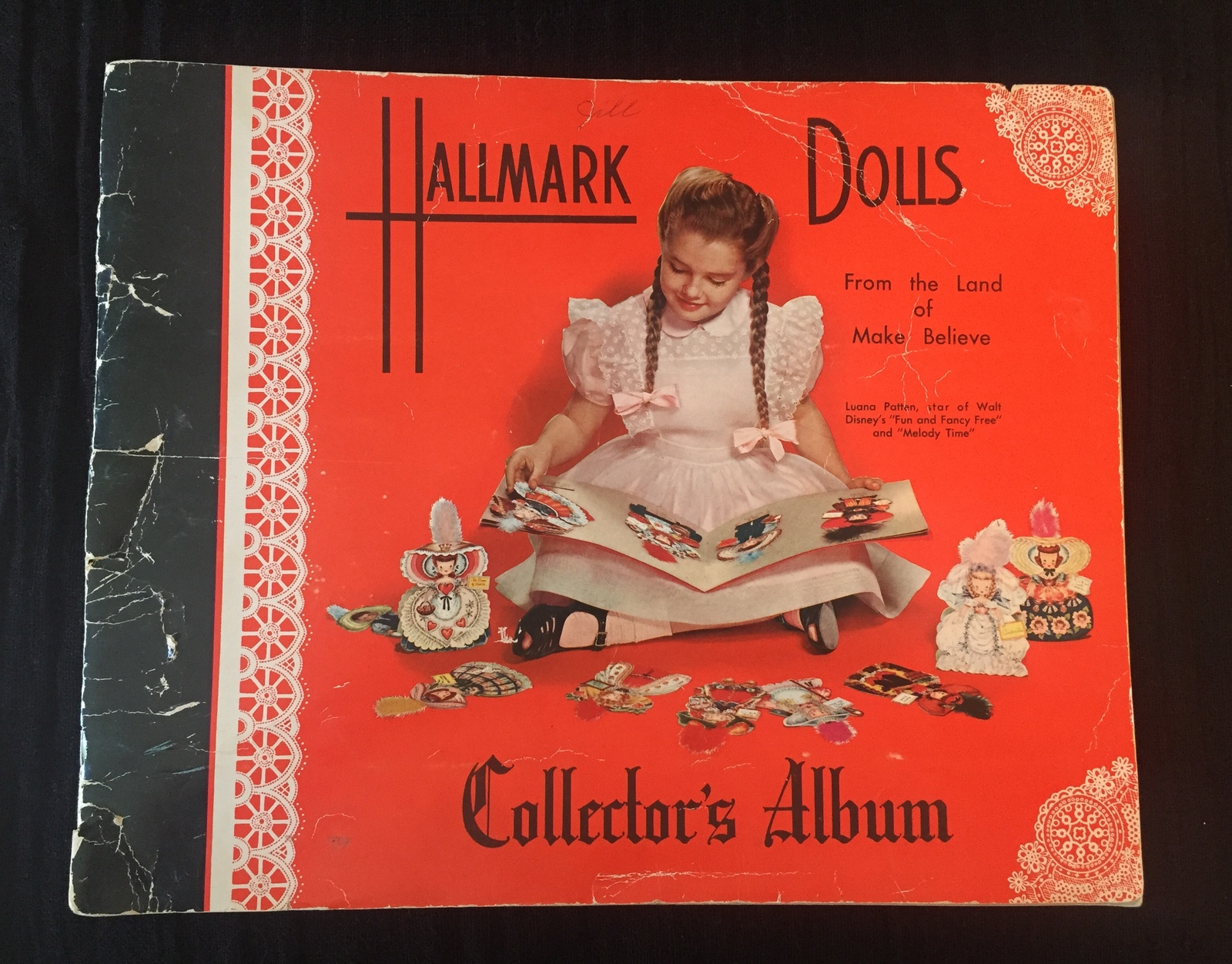Vintage 40s Hallmark Dolls Collector Album with 7 Original Dolls
