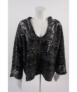 Free People Womens Fair Isle Raggy Hoodie Sweater XS Black White Oversized - $59.39