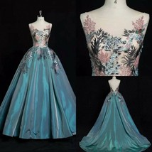 Hand Made Embroidery Beading Evening Dresses Formal Party Prom Bridal Gowns - $280.49+