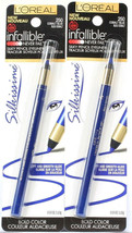 2 L'Oreal Infallible Silkissime Bold Color Silky Pencil Eyeliner 250 Cobalt Blue - $18.99