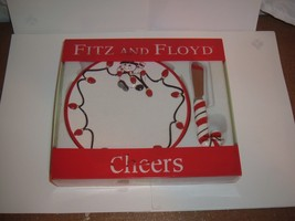 FITZ & FLOYD - CHRISTMAS SNOWMAN - CHEERS SNACK PLATE WITH SPREADER - $9.49