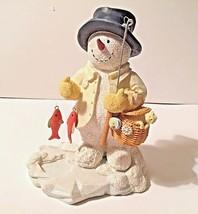 """Russ Berrie """"Reel Snowman"""" Ice Sculptures No. 21368 Figurine Ice fishing Snowman - $18.50"""