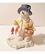 """Russ Berrie """"Reel Snowman"""" Ice Sculptures No. 21368 Figurine Ice fishing... - $18.50"""