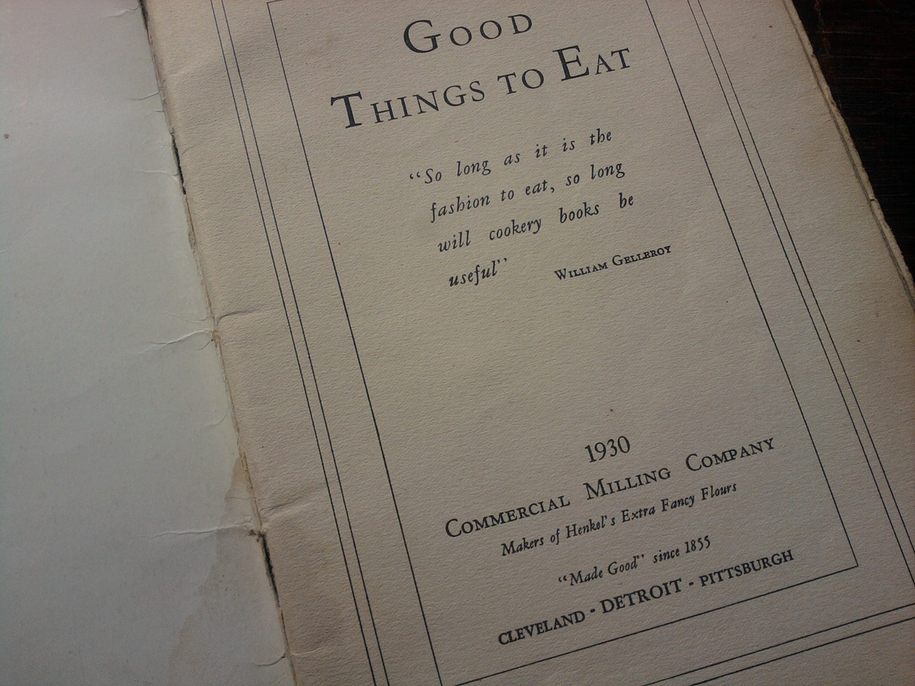 COOK BOOK - 1933 HENKEL'S FLOURS - GOOD THINGS TO EAT