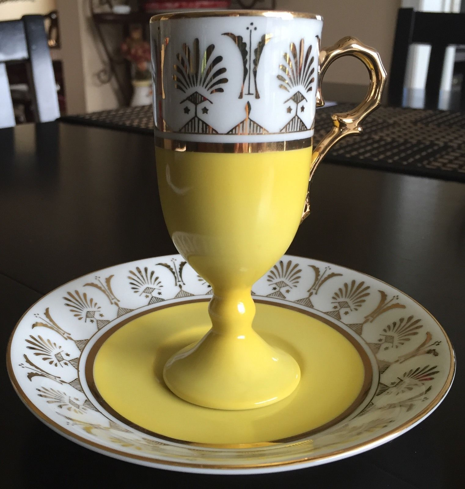 Primary image for Lefton China Vintage HandPainted Canary Yellow & Gold Cappuccino Espresso Tall T