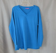 Woman Within sweater pullover L 18/20 blue reversed seams long ribbed sl... - $15.63