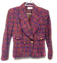 MICHAEL Wool Jacket Blue Pink Tan Purple lined Tweed Woven Double Breast... - $9.89