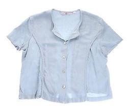Japanese Weekend Nursing Shirt Top Blouse Blue Maternity Cotton Linen M - $5.93