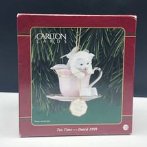 CARLTON CARDS Cat Kitten Tea Time 1999 Christmas ornament heirloom teacu... - $19.80