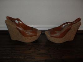 Jessica Simpson New Brown Leather Slingback Wedge Heels  Medium ( B, M )... - $48.99