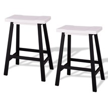 Saddle Seat Counter Height Bar Stools Set of 2 White Wood Kitchen Diner ... - £43.90 GBP