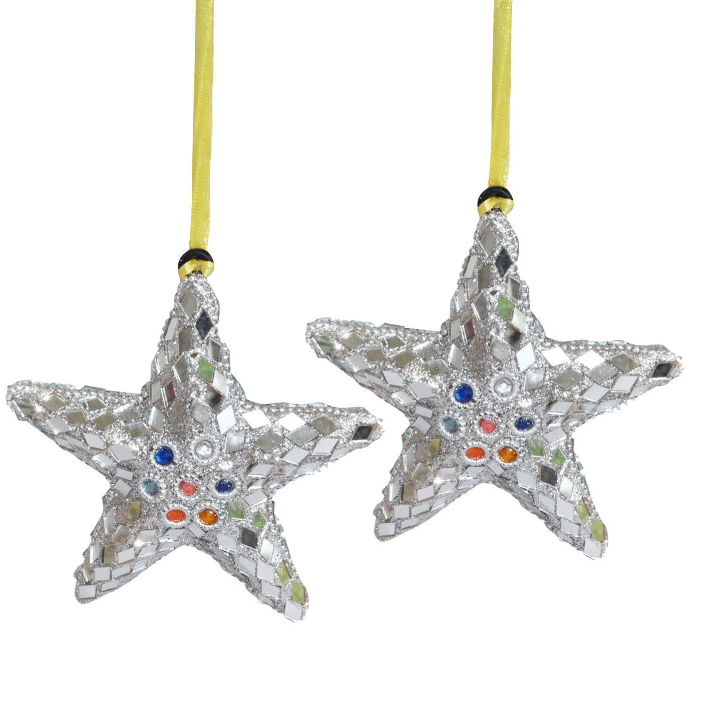 Set of 2, Silver Decorations Star Shape Hanging Christmas ...