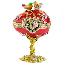 Vintage Style Hand Painted Love Bird Faberge Egg Rhinestone Jewerly Trin... - $38.54