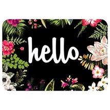 ZBLX Hello Flowers Doormat Entrance Mat Floor Mat Rug Indoor/Outdoor/Fro... - $16.69