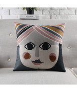 "18"" Square Nordic Abstract Art Cotton Linen Cushion Cover Sofa Decor Thr... - £20.82 GBP"