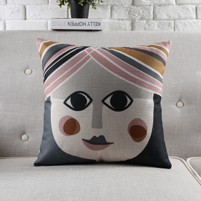 18 square nordic abstract art cotton linen cushion cover sofa decor throw pillow car chair home