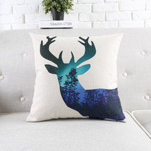 "18"" Square Nordic Abstract Deer Cotton Linen Cushion Cover Sofa Decor Th... - ₨1,837.80 INR"