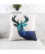 "18"" Square Nordic Abstract Deer Cotton Linen Cushion Cover Sofa Decor Th... - £20.82 GBP"