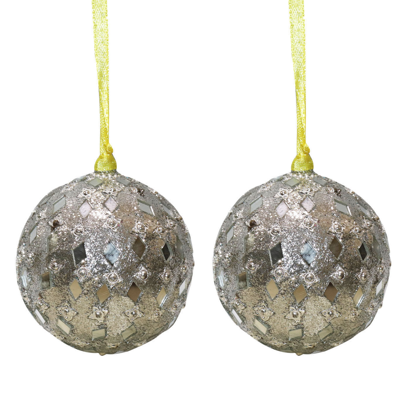 Set of christmas tree hanging ornaments silver
