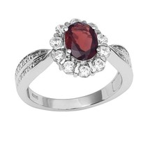 Women Classic Engagement Jewelry 925 Sterling Garnet Gemstone Ring Sz L ... - £15.77 GBP