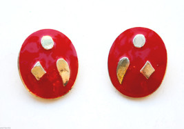 vintage red oval enamel clip earrings gold color - $1.97