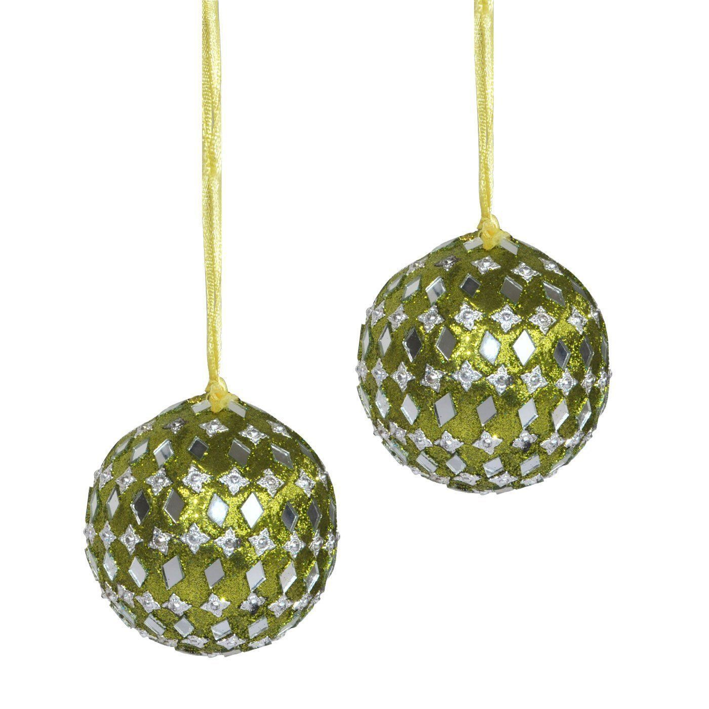 Set of christmas tree hanging ornaments green