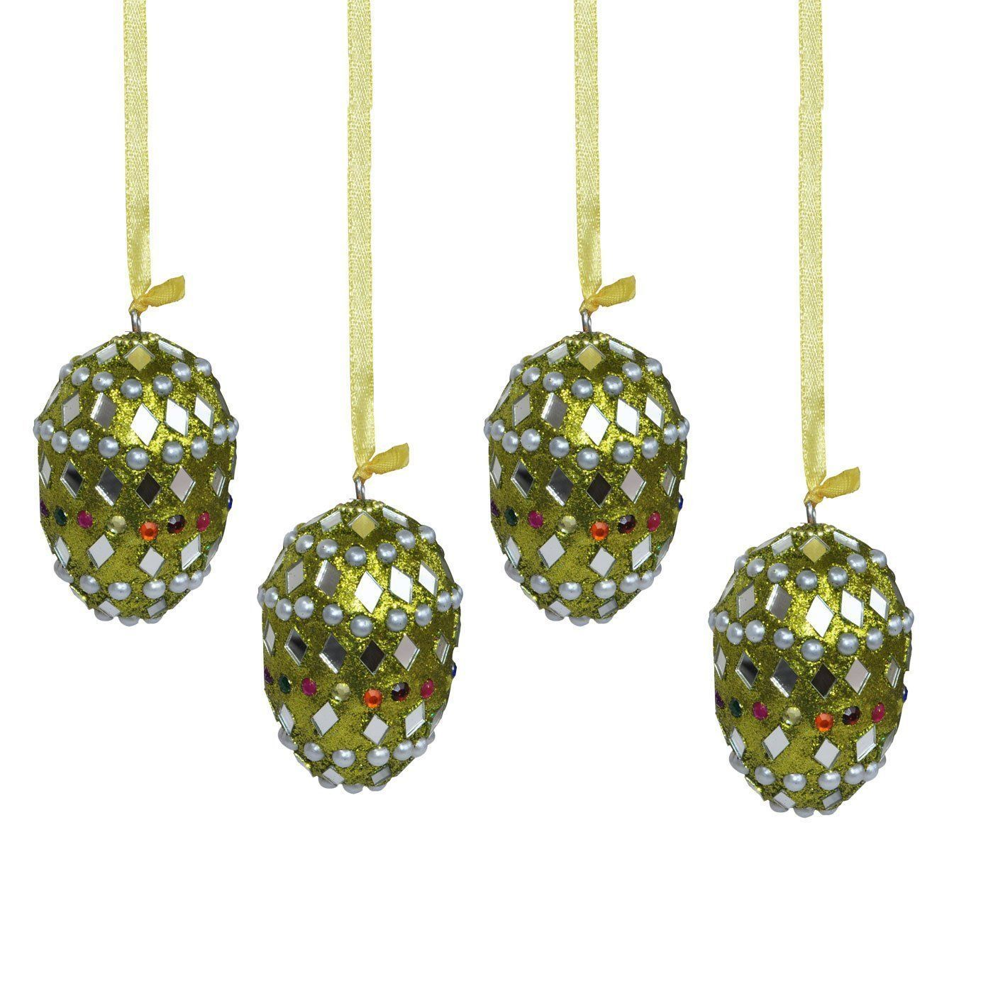 Set of 4 parrot green colour oval shape decorative for Christmas tree photo ornaments