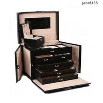 Genuine Black Leather Jewelry Box Travel Case & Locking Storage Necklace... - $128.65